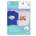 "Variety Pack; 4"" x 6"" Dark and Light T-Shirt Transfers (10 sheets/pack)"