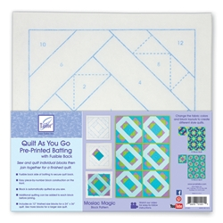 Quilt As You Go Pre-Printed Batting with Fusible Back Mosaic Magic Block Pattern