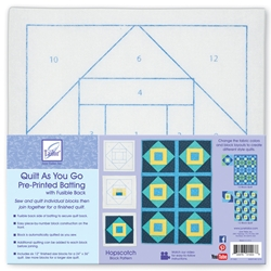 Quilt as You Go Pre-Printed Batting with Fusible Back Hopscotch Block Pattern