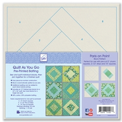 Quilt As You Go Pre-Printed Batting  Paris on Point Quilt Block Pattern