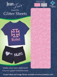 Iron-On Glitter Embellishment Sheets (1 each - Pink/Silver)
