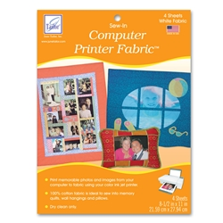 June Tailor Computer Printer Fabric - White (4 sheets/pack) Sew-In Fabric Sheets for Inkjet Printers.