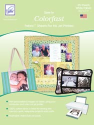 June Tailor Colorfast - White (25 sheets/pack) Sew-In Fabric Sheets for Inkjet Printers.